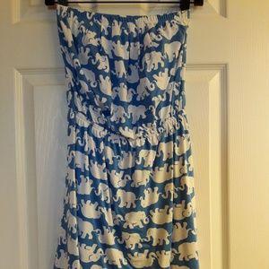 Bay Blue Tusk In Sun Windsor Strapless Dress